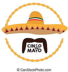 Cinco de mayo - Isolated mexican hat and a mustache, Cinco...