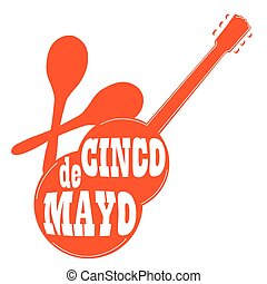Cinco de mayo - Isolated silhouette of a guitar and maracas,...