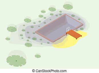 Isometric garden project at bathing pond. Natural garden swimming pond.