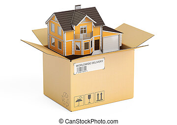 Household moving services concept. Parcel with house, 3D...
