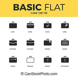Basic set of case icons - Basic set of handbag form, marker...