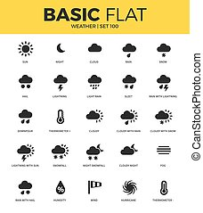 Basic set of weather bonus icons - Basic set of hail, night,...