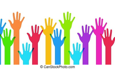 colorful hands background animation.