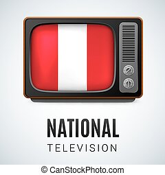 National Television - Vintage TV and Flag of Peru as Symbol...