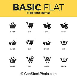 Basic set of checkout icons - Basic set of cart form, basket...