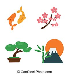 Volcano and japan landmark travel icons vector illustration....