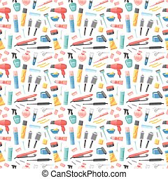 Hairdresser seamless pattern vector. - Hairdresser seamless...