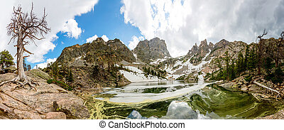 Mirror mountains in lake landscape panoramic view, Estes...