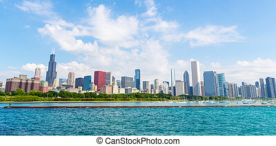 Cityscape of Chicago in a summer day, Illinois USA.