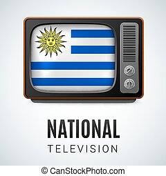 National Television - Vintage TV and Flag of Uruguay as...