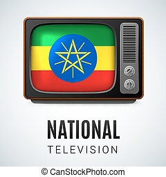 National Television - Vintage TV and Flag of Ethiopia as...