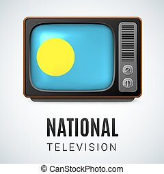 National Television - Vintage TV and Flag of Palau as Symbol...