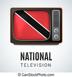 National Television - Vintage TV and Flag of Trinidad and...
