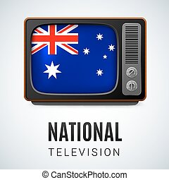 National Television - Vintage TV and Flag of Australia as...