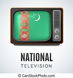 National Television - Vintage TV and Flag of Turkmenistan as...