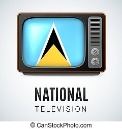 National Television - Vintage TV and Flag of Saint Lucia as...