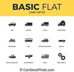 Basic set of car icons - Basic set of minibus form, trailer...