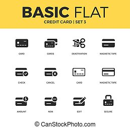 Basic set of credit card icons - Basic set of secure form,...