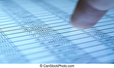 Checking Financial Statistic - Finger Checking Stock Market...