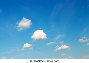 white clouds on blue sky.many white clouds flying in blue...
