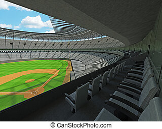 3D render of baseball stadium with white seats and VIP boxes...