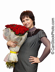 Beautiful smiling woman with roses - Portrait of a Beautiful...