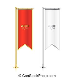 Red and white vertical banner flag templates.
