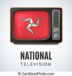 National Television - Vintage TV and Flag of Isle of Man as...