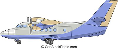Vector. Airplane with propellers. - Modern passenger blue...