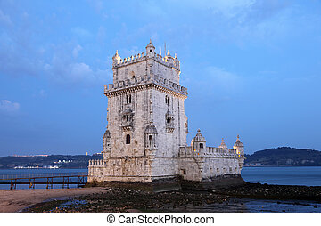Torre de Belem (Belem tower) at dusk, Lisbon Portugal