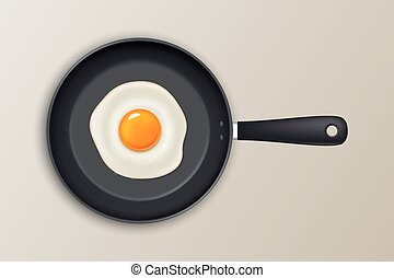 Vector fried egg on a black pan. Realistic icon. - Fried egg...