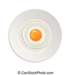 Realistic vector fried egg icon on a plate. Design template....