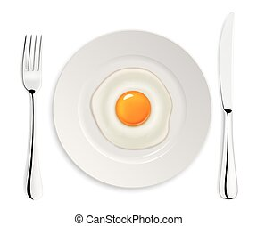Realistic vector fried egg icon on a plate with fork and...