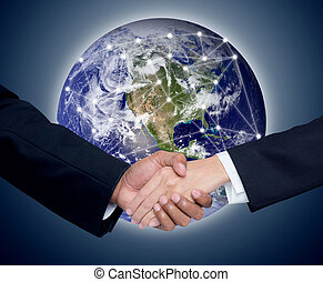 Business with people shaking hands with a global communication network background, Elements of this image furnished by NASA