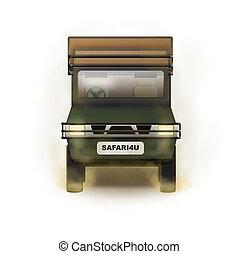 Safari Truck Illustration - Isolated illustration of open...