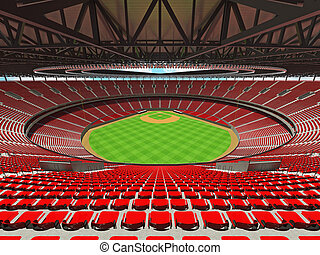 3D render of baseball stadium with red seats and VIP boxes -...