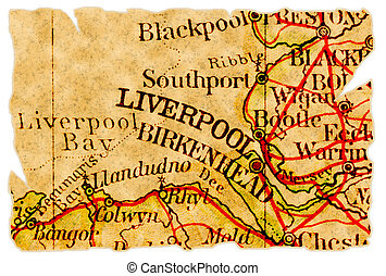 Liverpool old map - Liverpool, United Kingdom on an old torn...