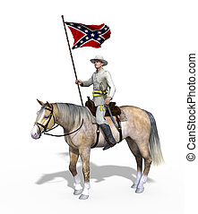Civil War Confederate Officer on Horseback