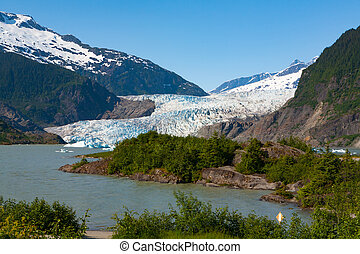Mendenhall Glacier during summer - Glacier in Juneau, Alaska