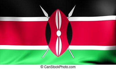 Kenya Flag. Background Seamless Looping Animation. 4K High Definition Video.