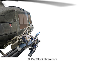Closeup of army helicopter with machine gun. - Closeup of...