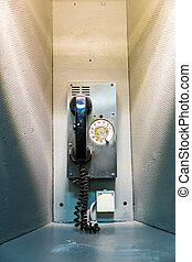 Military ship telephone communication. Retro phone on...