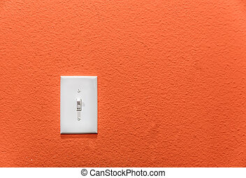 Power switch on the wall. - White power switch, turn on or...