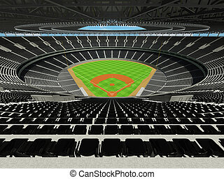 3D render of baseball stadium with black seats and VIP boxes...