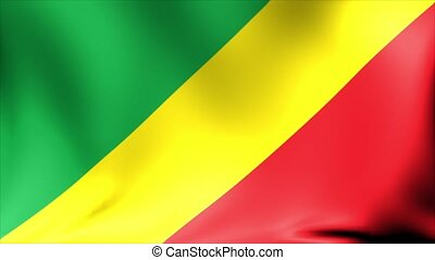 Congo Flag. Background Seamless Looping Animation. 4K High Definition Video.