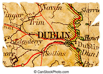 Dublin old map - Dublin, Ireland on an old torn map from...