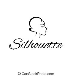 Logo with a woman s silhouette . Vector illustration