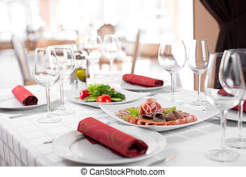 Weding party table in restaurant interior - Weding party...