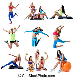 Young women doing fitness collage