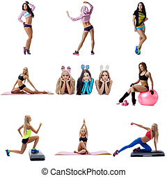 Young sexy women doing fitness collage